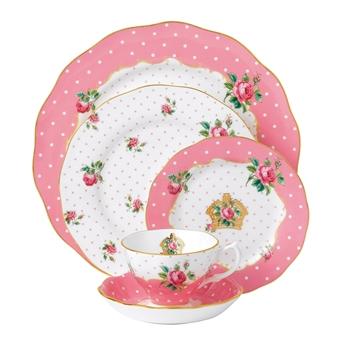 로얄 알버트 Royal Albert Cheeky Pink Vintage 5-Piece Place Setting