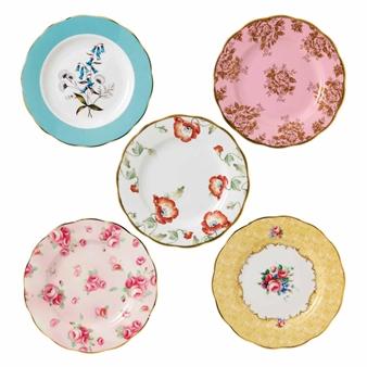 로얄 알버트 Royal Albert 100 Years of 로얄 알버트 Royal Albert 1950-1990 5-Piece Plate Set