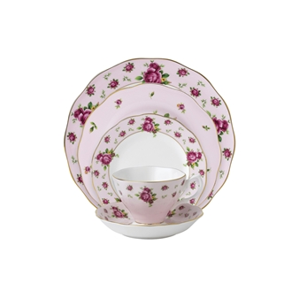로얄 알버트 Royal Albert New Country Roses Pink Vintage 5-Piece Place Setting