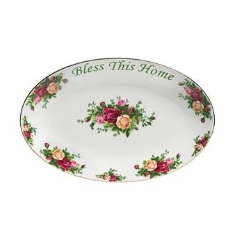 로얄 알버트 Royal Albert Old Country Roses Bless This Home Platter