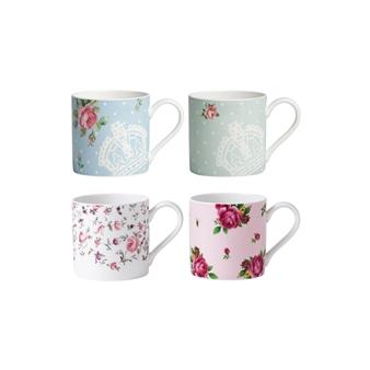 로얄 알버트 Royal Albert New Country Roses Assorted Modern Casual Mugs, Set of 4