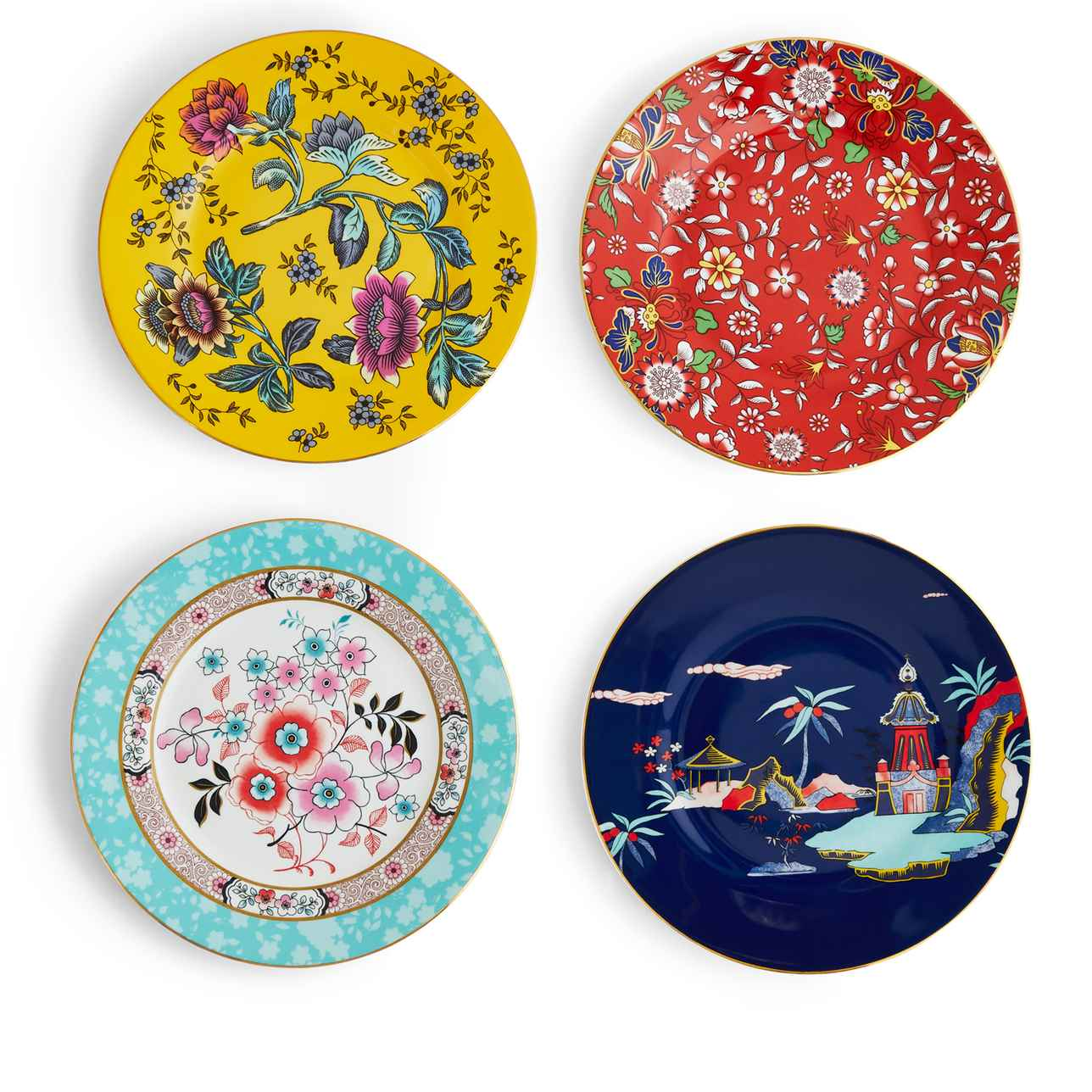 Wonderlust Plates, Set of 4