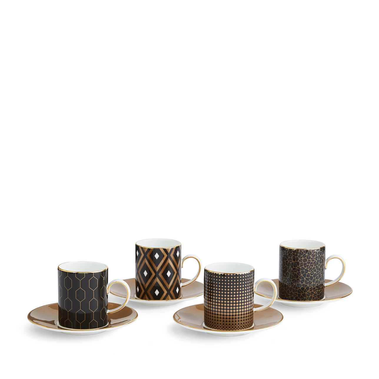 Arris Side Espresso Cup and Saucer, Set of 4