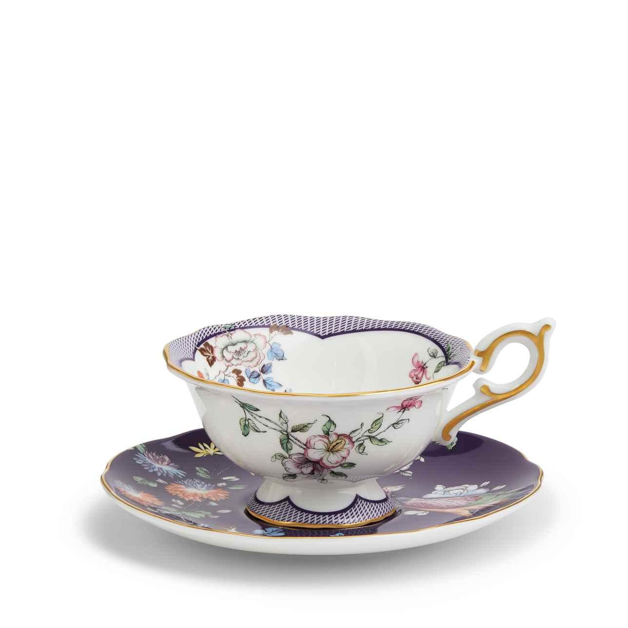 Wonderlust Midnight Crane Teacup and Saucer