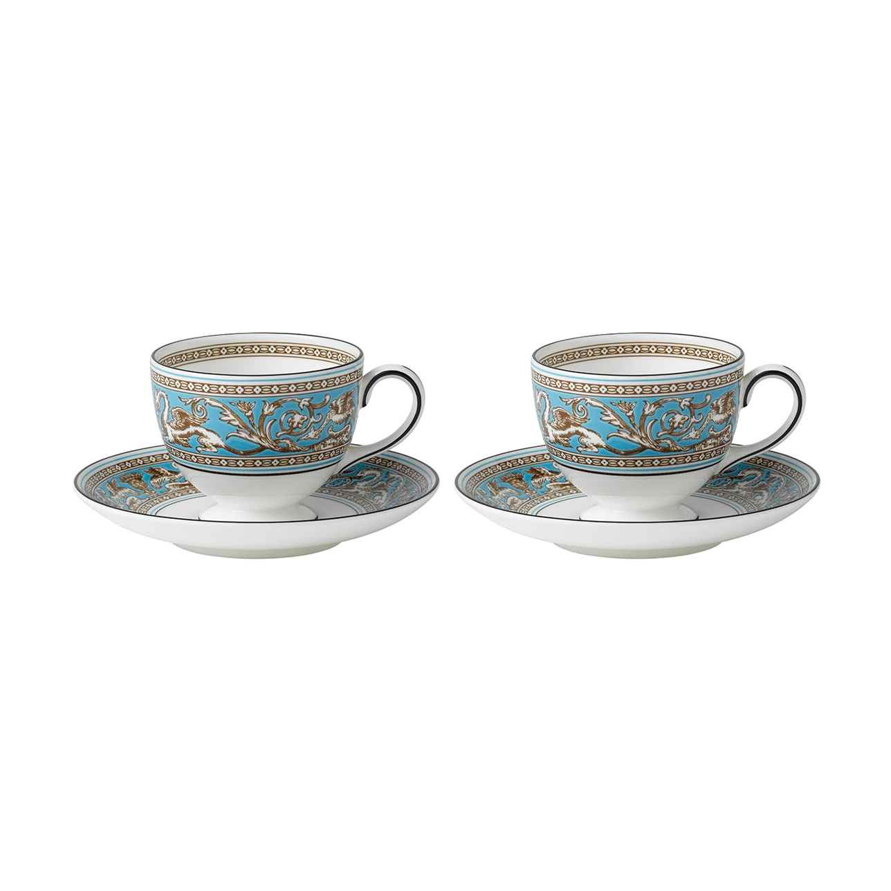 Florentine Turquoise Teacup & Saucer, Set of 2