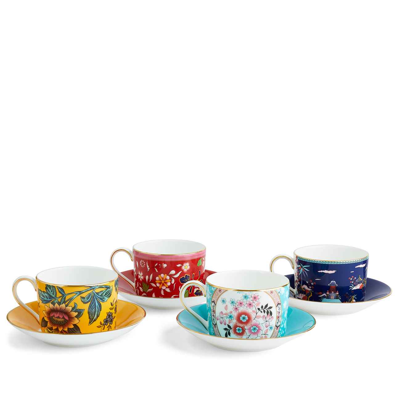 Wonderlust Teacup & Saucer, Set of 4