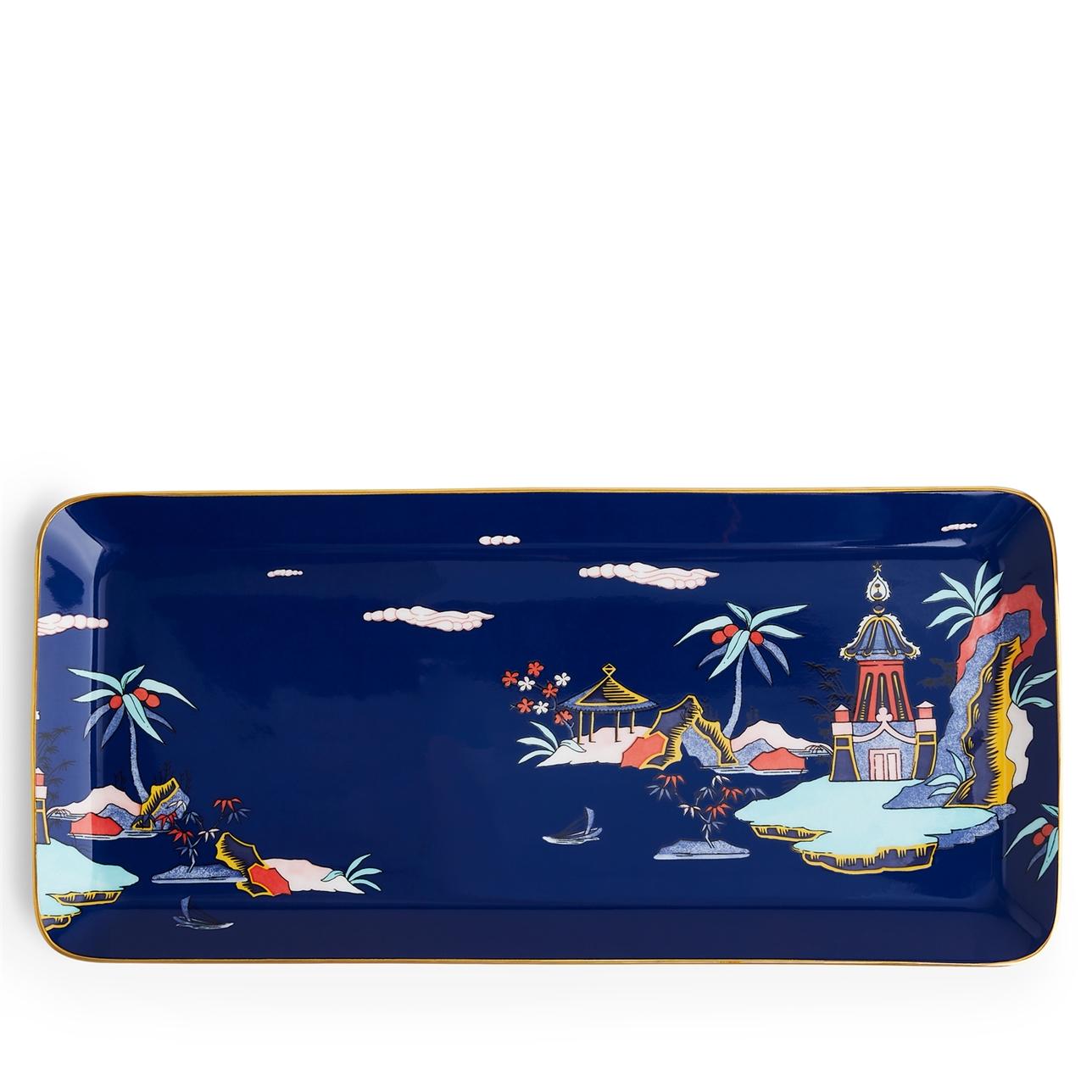 Wonderlust Blue Pagoda Sandwich Tray 34cm