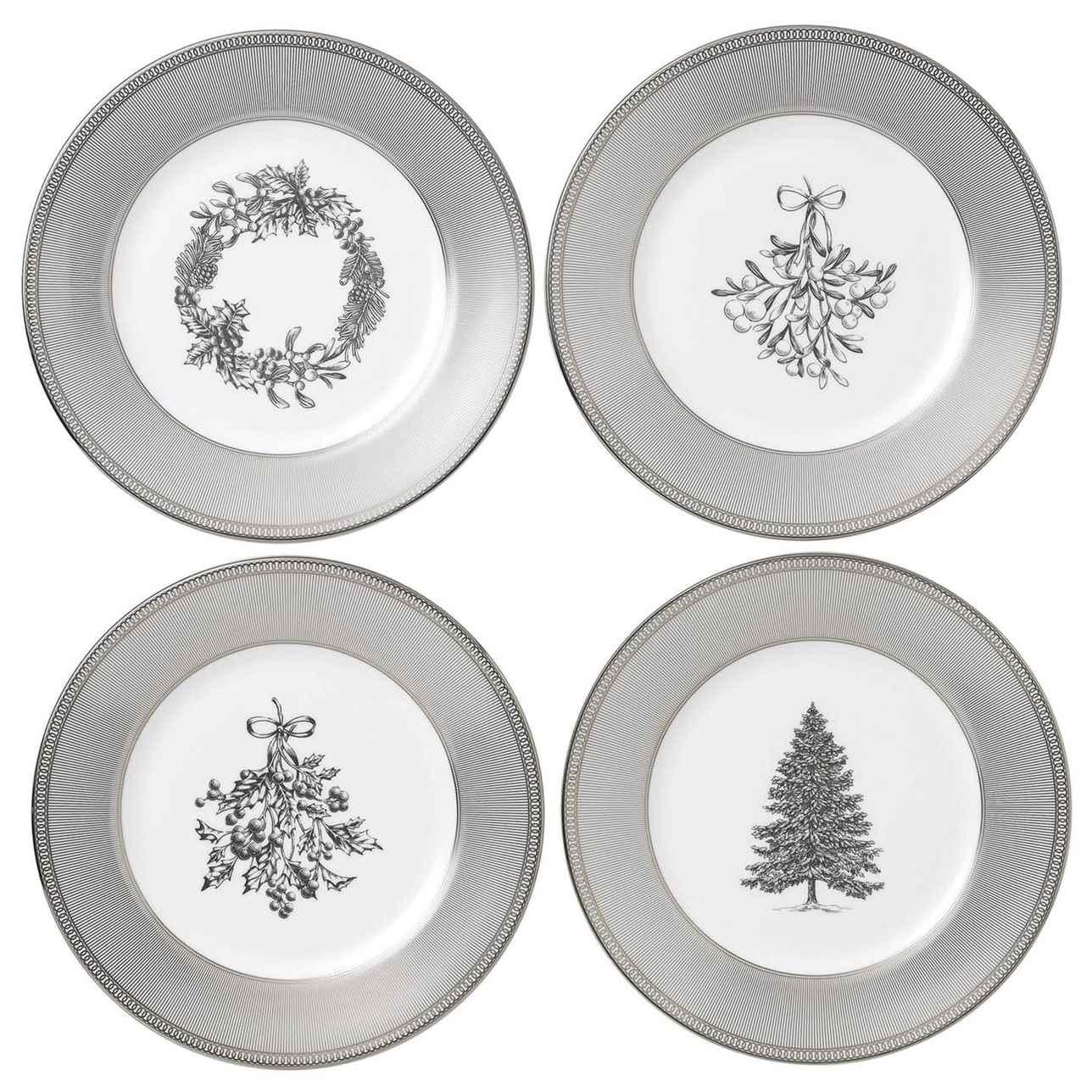 Winter White Plates 20cm, Set of 4
