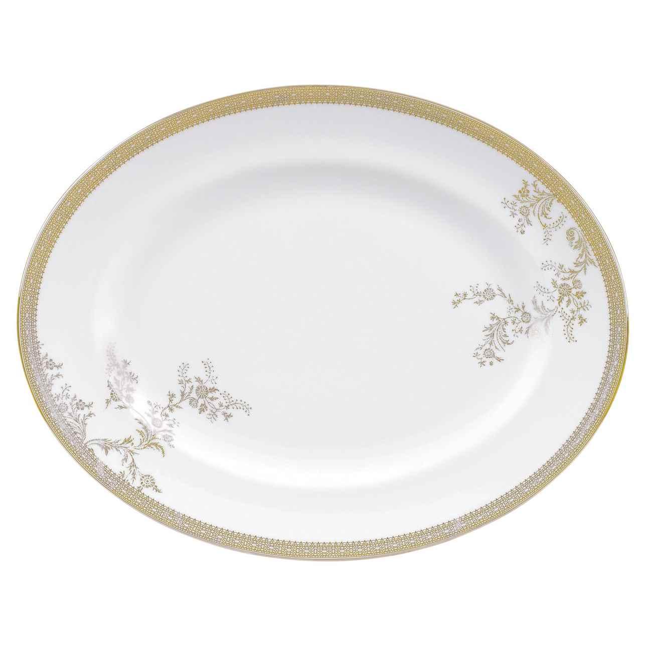 Vera Wang Lace Gold Oval Dish 35cm