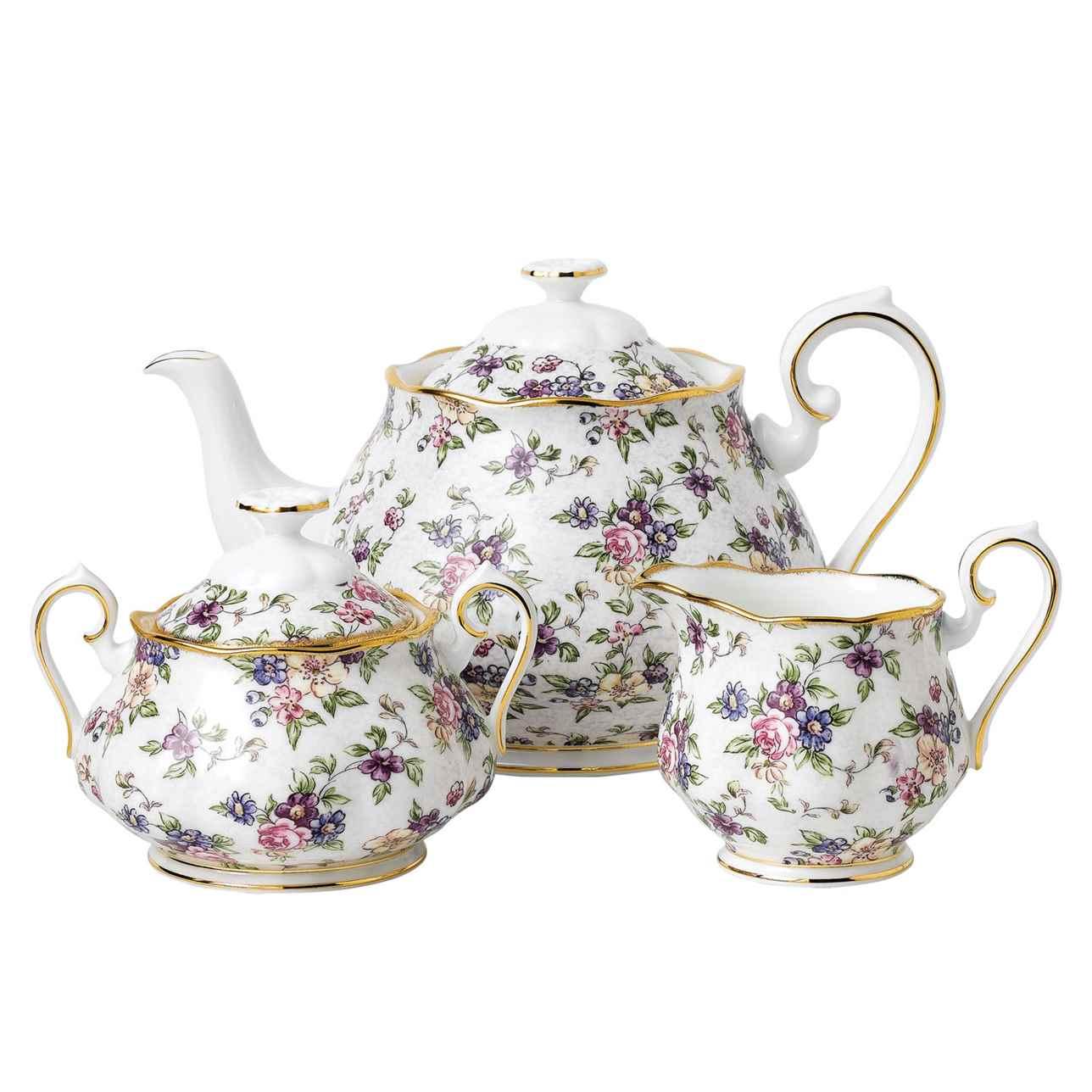 Royal Albert 100 Years of Royal Albert 1940 English Chintz Teapot, Sugar and Cream Set