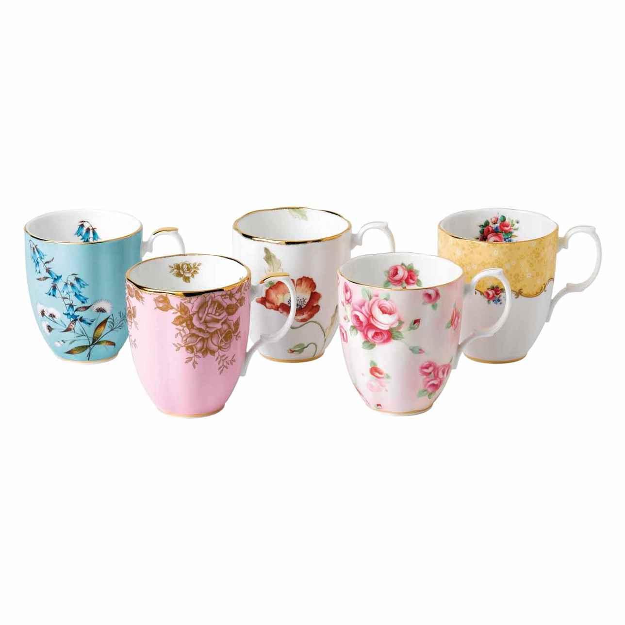 Royal Albert 100 Years of Royal Albert 5 Piece Mug Set (1950-1990)
