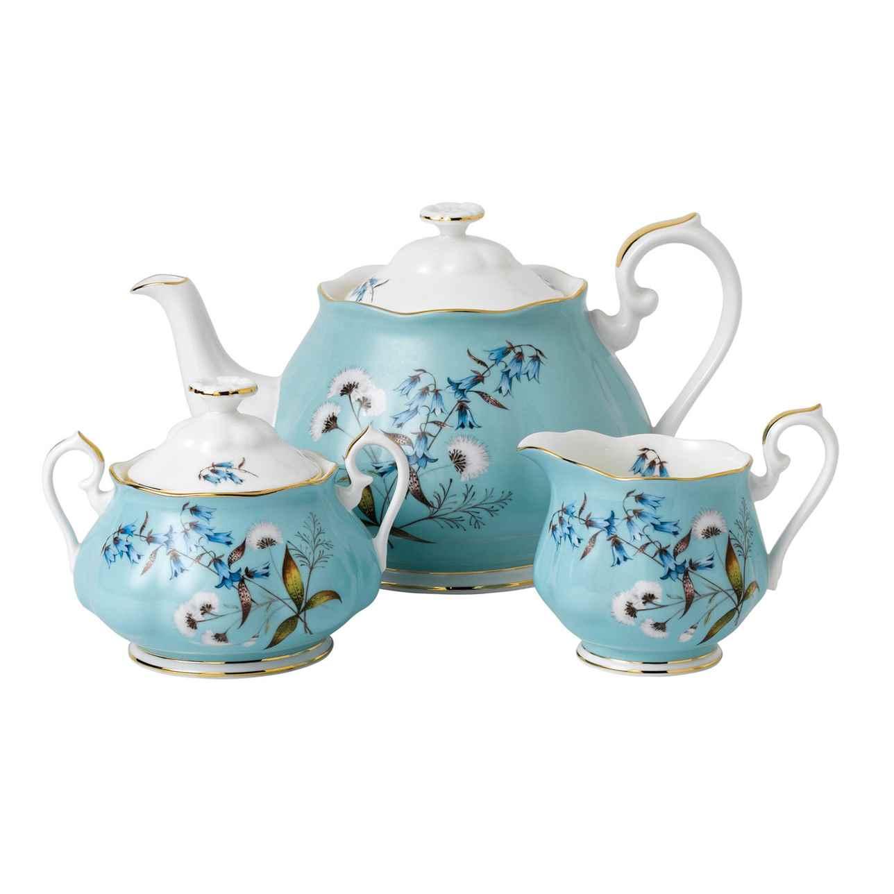 Royal Albert 100 Years of Royal Albert 1950 Festival Teapot, Sugar and Cream Set