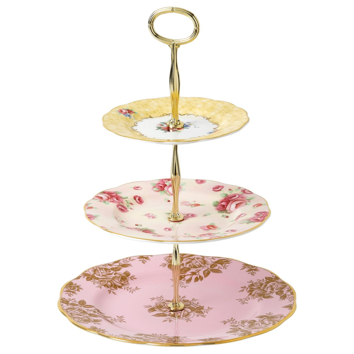 Royal Albert 100 Years of Royal Albert 3-Tier Cake Stand – Bouquet, Golden Roses and Rose Blush by Wedgwood | Floral Pattern | Gold Banding