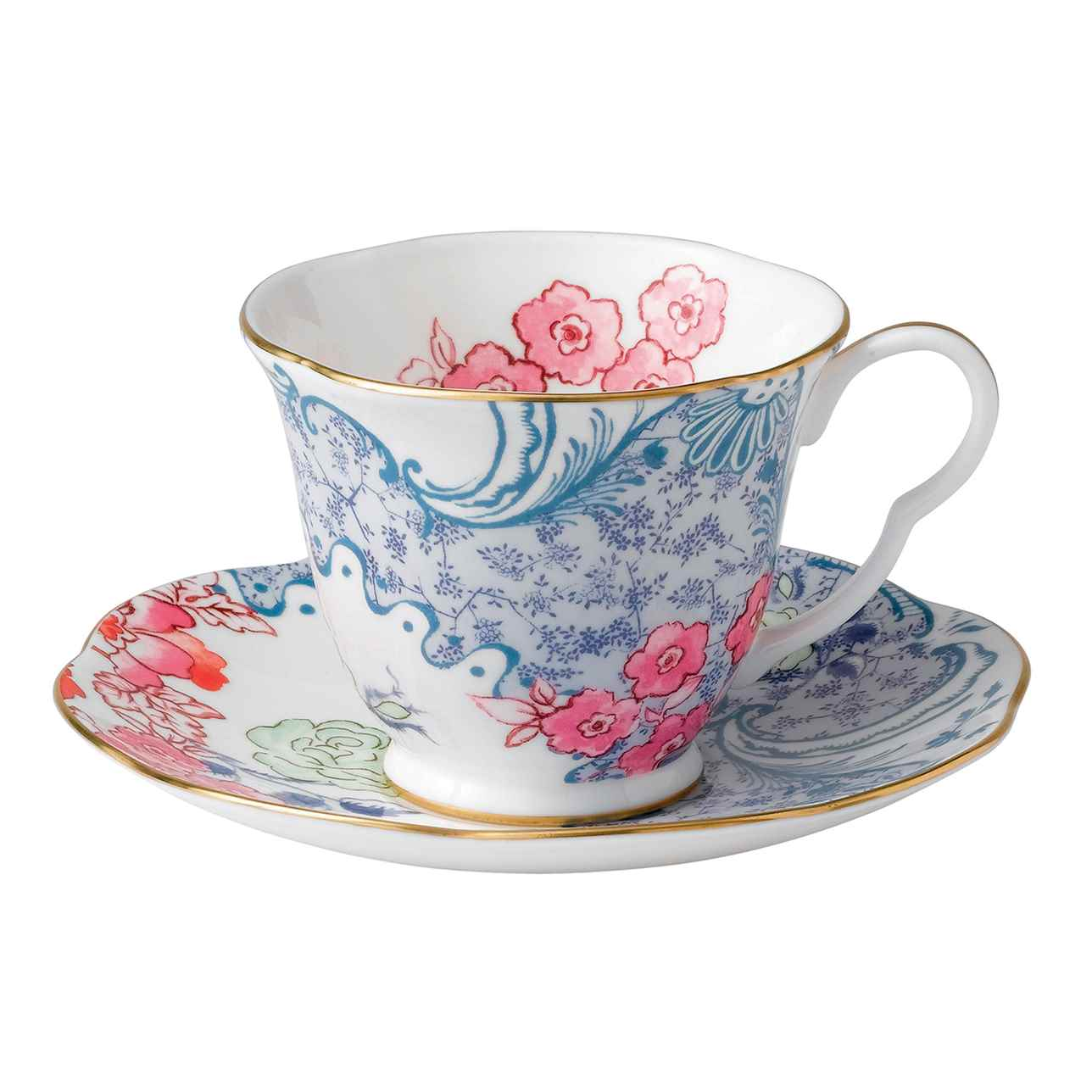 Butterfly Bloom Blue and Pink Teacup and Saucer