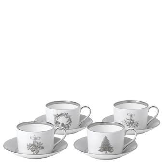웨지우드 크리스마스 2020 윈터 화이트 티컵 받침대 (4세트) Wedgwood Winter White Teacup & Saucer Set of 4