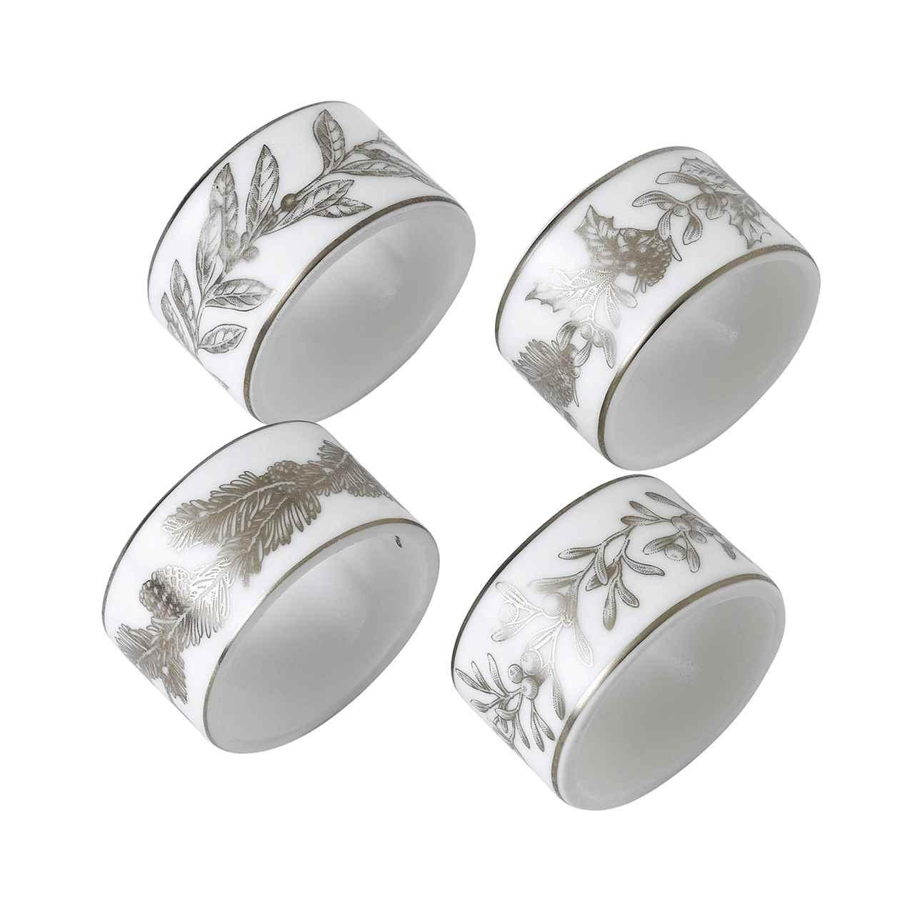 Winter White Napkin Rings Set of 4