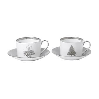 웨지우드 크리스마스 2020 윈터 화이트 티컵 받침대 (2세트)Wedgwood Winter White Teacup & Saucer, Set of Two