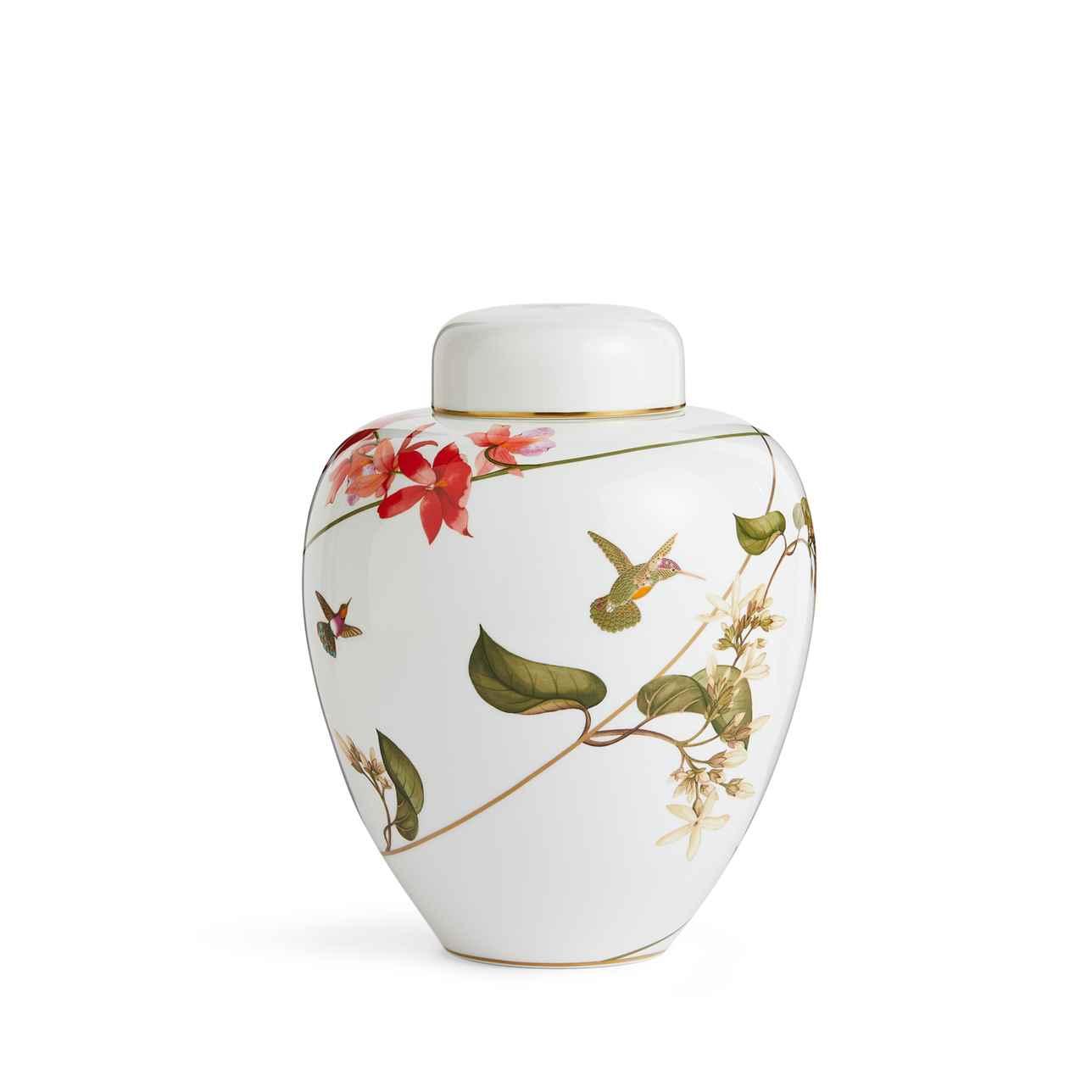 Hummingbird Lidded Vase 25cm